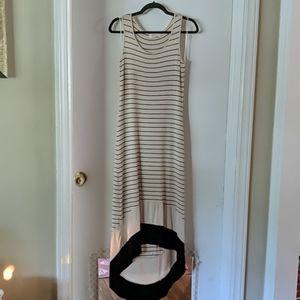 Beige/Navy stripped maxi dress, sm, longer back